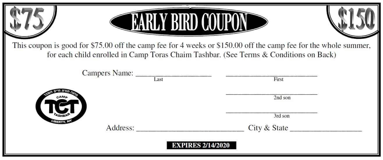 Early Bird Coupon